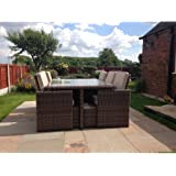 Radeway® 11 PCS Patio Furniture Dining set Garden Outdoor patio furniture sets Wicker Outdoor Patio Cube sets W/ Chocolate Mix Rattan & Sand Cushions