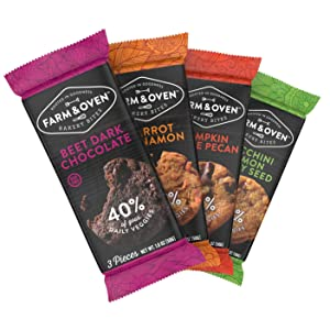 Farm & Oven Bakery Bites Variety Box - 12 pack. Bites of brownies, muffins, and cake.8 Servings of Veggies. Delicious. Yummy. Healthy. 40% of Your Daily Veggies. High Fiber. 1 Box.
