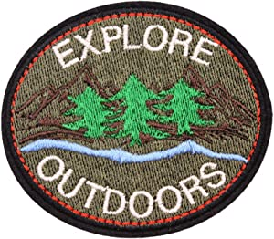 U-Sky Cool Park Forest Ranger Iron on Patches for Jackets, Explore Outdoors Save The Nature Embroidered Sew-on/Iron-on Applique Adventure Tree Patches for Jeans, Backpack, 2pcs Different Design Pack
