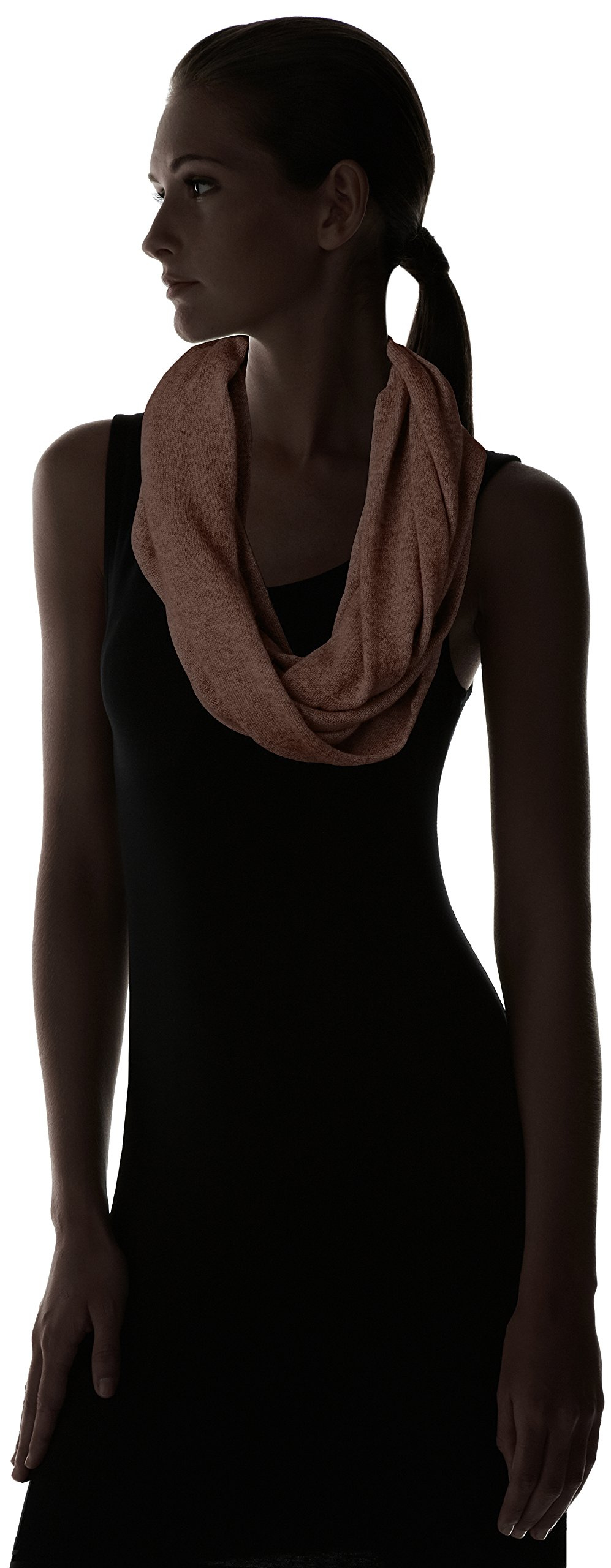 bela.nyc Women's Cashmere Solid Infinity Scarf, Chocolate Heather, One Size by bela.nyc (Image #3)