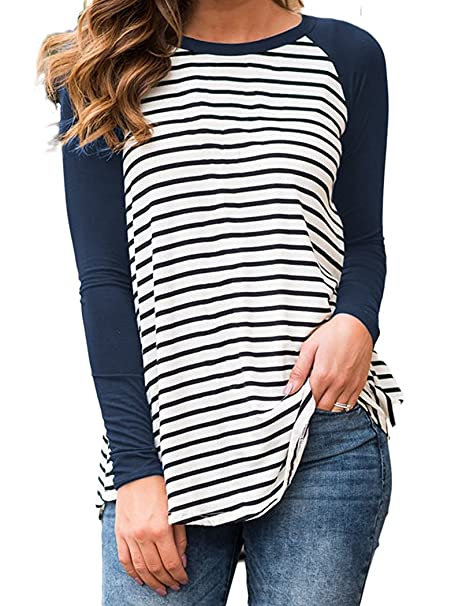 d83d8da9cfef3 Image Unavailable. Image not available for. Color  Chuanqi Women s Long  Sleeve Raglan Tops Casual Black and White Striped T Shirt