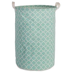DII Cotton/Polyester Basket Laundry Hamper 13.75x13.75x20 Aqua Lattice