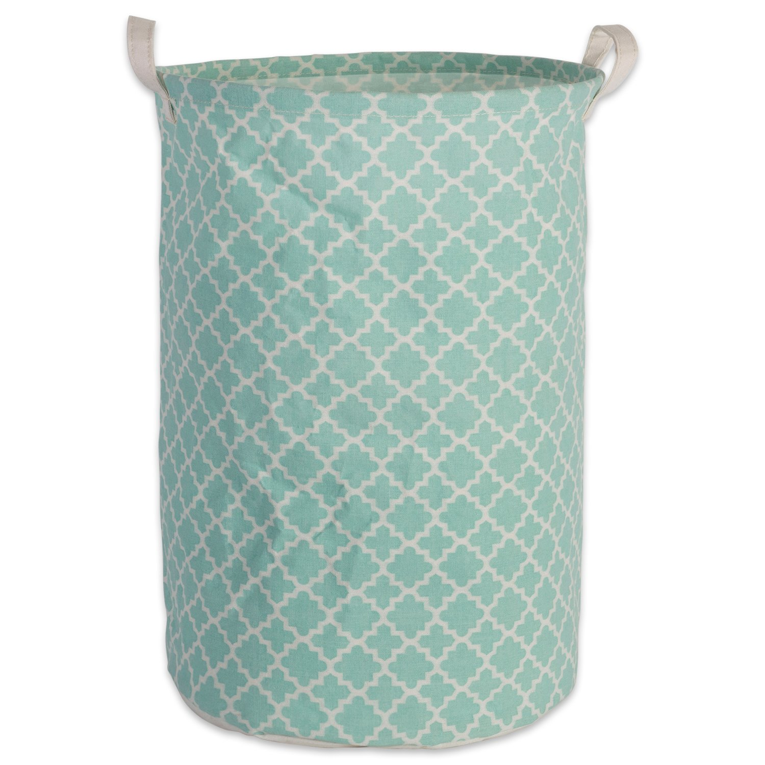 DII Cotton/Polyester Round Laundry Hamper or Basket, Perfect in Your Bedroom, Nursery, Dorm, Closet, 14 x 14 x 20 - Aqua Lattice