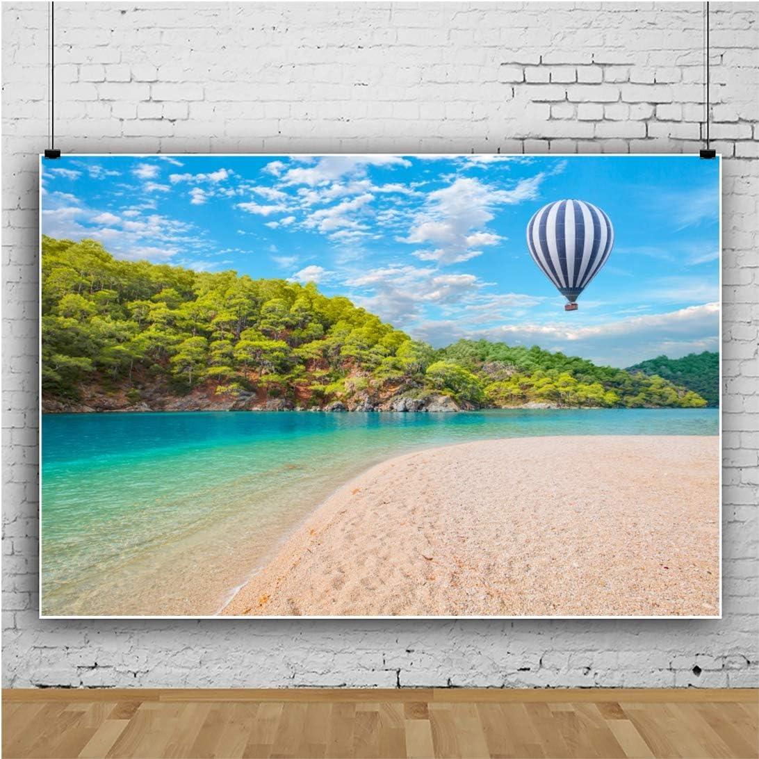 AOFOTO 7x5ft Beach Backdrops for Photoshoot Lagoon Hot Air Balloon Summer Blue Sky Sanbeach Mountains Outdoor Adventure Travel Tropical Ocean Photography Seaside Island Children Trip Photo Vinyl