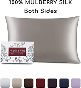 """Mellanni Silk Pillowcase for Hair and Skin - Both Sides 100% Pure Natural Mulberry Silk - 19 Momme - Hidden Zipper ClosurePillow Case- Hypoallergenic (King 20"""" X 36"""", Light Gray)"""