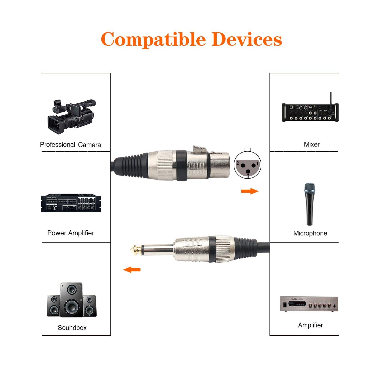 cavo di interconnessione sbilanciato per microfono dinamico 3 m 10FT cavo per microfono femmina XLR a 6,35 mm TS maschio Tisino
