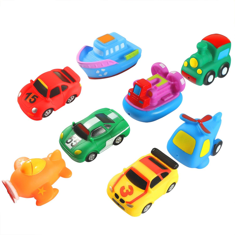 Keriber 8 Pack Flotante Juguetes para Baño de Goma Flotante Barco Vehículo Avión Baño Squirt Juguetes