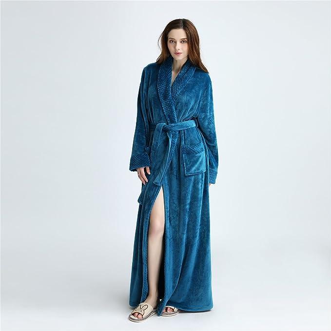 YAN Vestido de Mujer Franela Lujo Terry Toweling Batas de baño Batas Batas de casa + Cinturones Bolsillos Ropa de Dormir Ropa de Dormir para señoras (Color ...