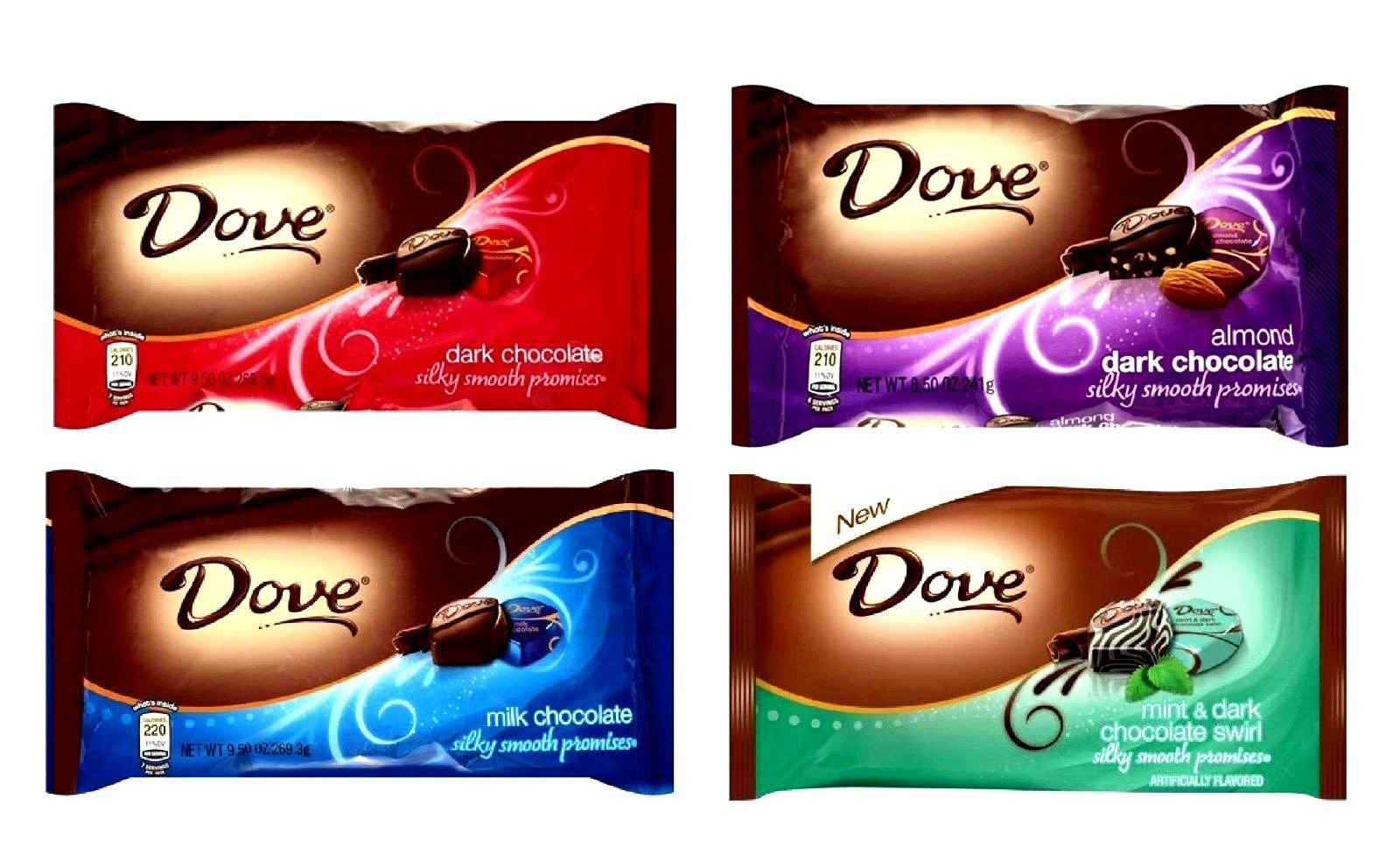 DOVE Chocolate, Promises, VARIETY 4 PACK: 1 Package of DARK CHOCOLATE 8.87 oz, 1 Package of MILK CHOCOLATE 8.87 oz, 1 Package of ALMOND DARK CHOCOLATE 7.94 oz, 1 Package of MINT & DARK CHOCOLATE SWIRL. 7.94 oz packages. Each package contains about 35 deli by Dove
