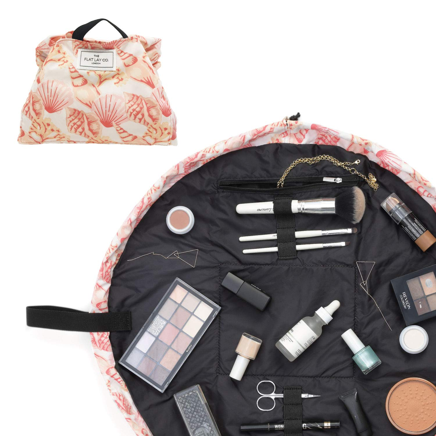Make Up Bag   Lay Flat Travel Cosmetic Toiletry Case   Contents not  included (Everything   50cm, Pink Shells)  Amazon.co.uk  Beauty d4c1ee1dbc