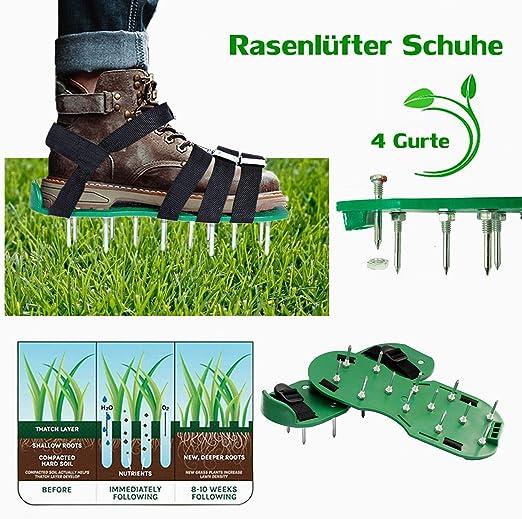 workbees – Zapatos para airear el césped, 4 Correas, aireador de césped, Zapatos para césped Vertical para tu jardín o Patio: Amazon.es: Jardín