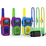 woktok Walkie Talkie para Niños 3 Pcs 8 Canales y 9 Baterías Recargables Función VOX LCD Pantalla, hasta 5 KM en Area…