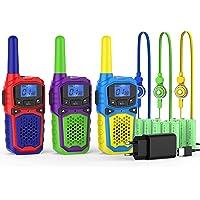 Walkie Talkie Niños Recargable con Cargadores USB 9 Bateria Recargable Walky Talky 3 Piezas 8 Canales 3KM Largo Alcance…