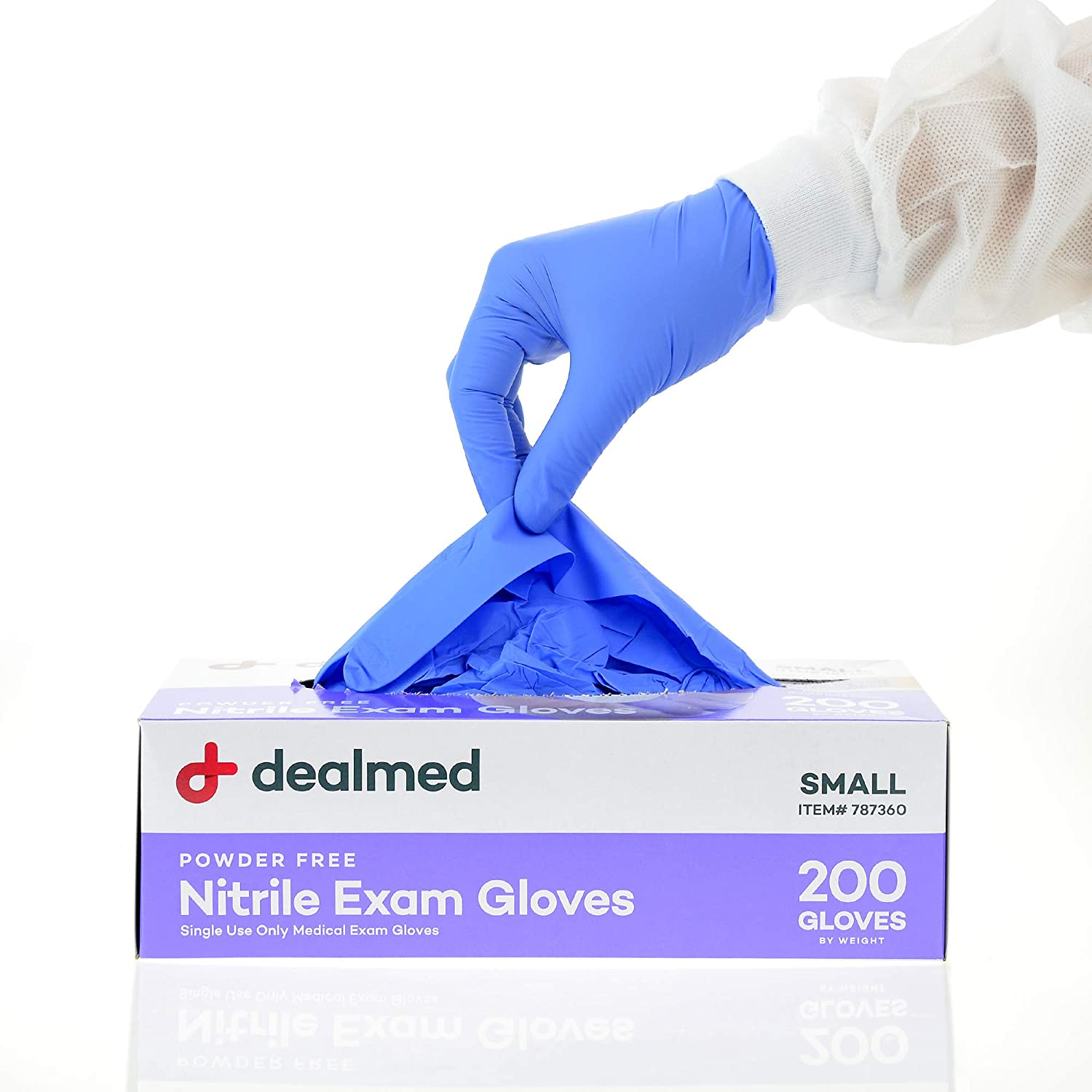 Dealmed Brand Nitrile Medical Grade Exam Gloves, Disposable, Latex-Free, Small (200 ct.)