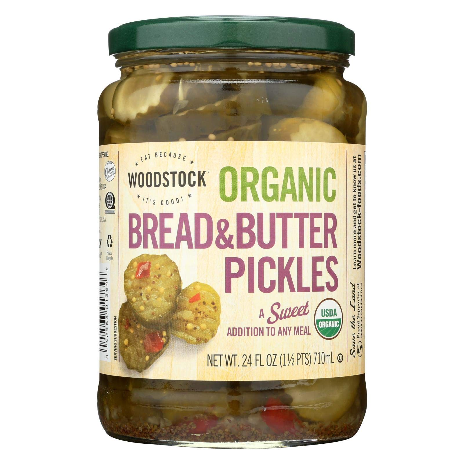 Woodstock Farms Organic Sweet Bread and Butter Pickle, 24 Ounce -- 6 per case. by Woodstock