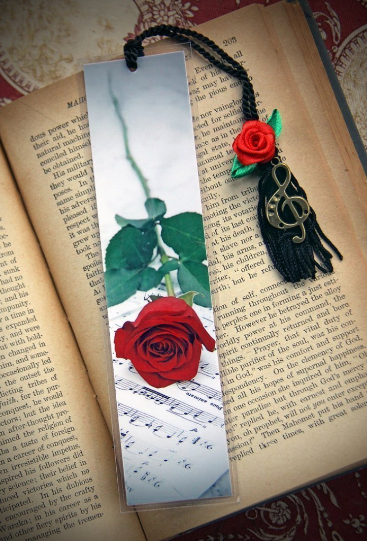 Romantic Red Rose Classical Sheet Music Spring Fine Art Photography Photo Laminated Handmade Bookmark w/opt. Floral Silk Rose Flower & G Treble Clef