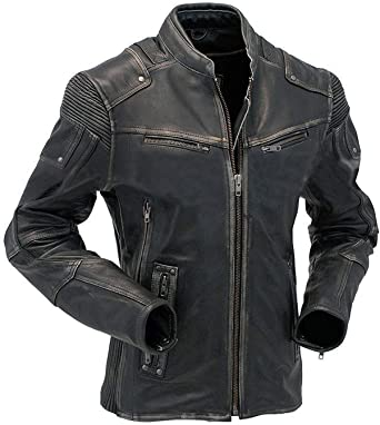 Mens Black Slim Fit Biker Motorcycle Vintage Cafe Racer Genuine Leather Jacket