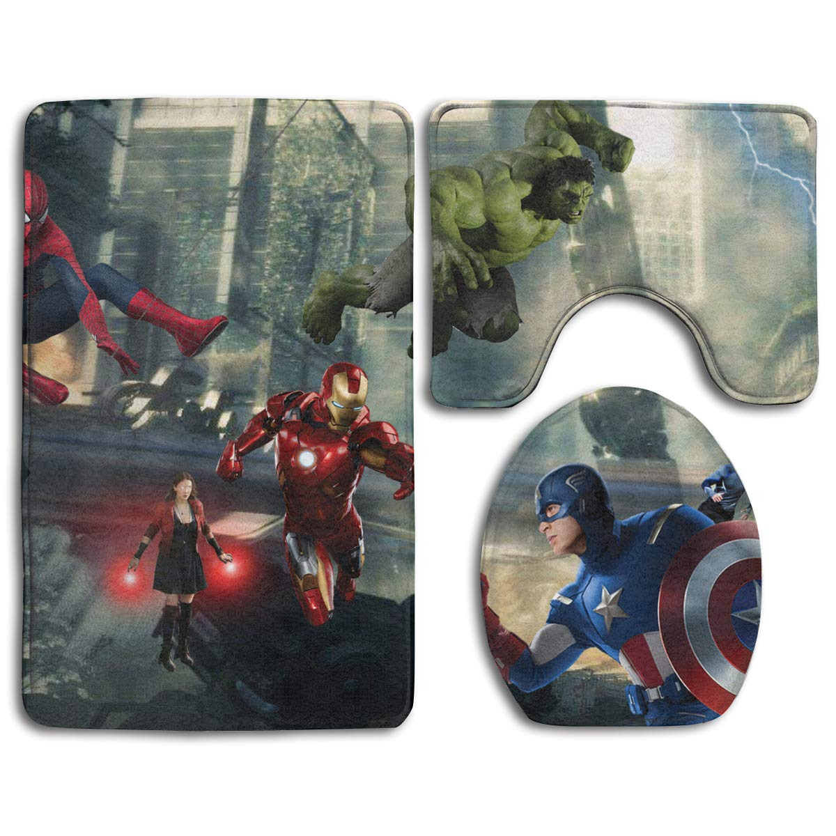 Avengers 3 Piece Bathroom Mats Set Toilet Floor Mats Set Non-Slip Toilet Bath Rugs Home Decor Printed Bathroom Carpets