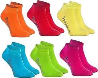 Rainbow Socks - Niños y Niñas - Calcetines Cortos de Algodón - 6 Pares - Naranja Rojo Amarillo Azul Verde Rosa - Talla