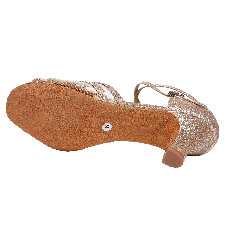 Akanu Women's Latin Dance Shoes Female's Ballroom Salsa Dance Shoes(E-Style Gold Size 7.5) by Akanu (Image #4)