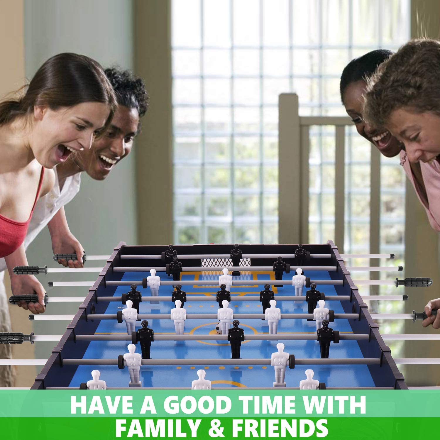 Easy to Store 4 Foldable Compact Soccer//Football Game Table Assembly Free WIN.MAX Preassembled Folding Foosball Table