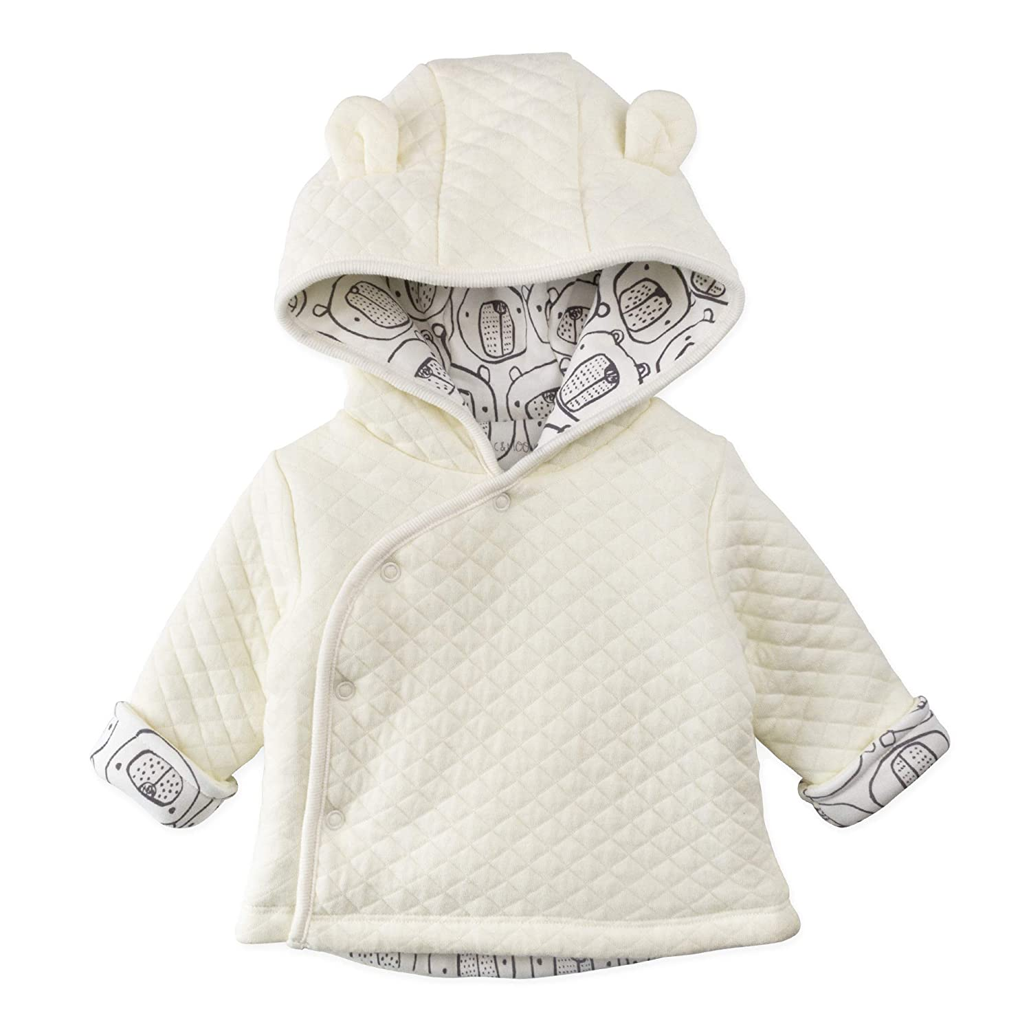 Mac & Moon Baby Boy Baby Girl Outerwear, Quilted Kimono Jacket with Hood