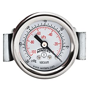 "Winters PEU Series Steel Dual Scale Economy Panel Mounted Pressure Gauge, 30""Hg Vacuum/kpa, 1-1/2"" Dial Display, +/-3-2-3% Accuracy, 1/8"" NPT Connection"
