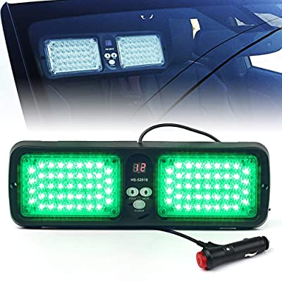 Xprite Green 86 LED SunShield Sun Visor Emergency Strobe Lights 12 Flash Modes Hazard Warning Light for Law Enforcement Vehicle: Automotive
