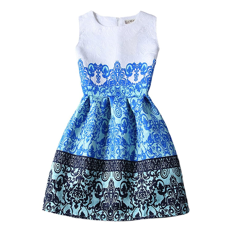 Jiayiqi Frauen Jahrgang Totem Muster Ärmelloses Plissee Kleid Sommerkleid