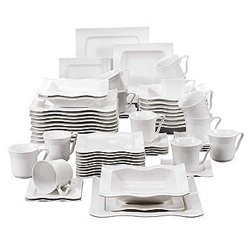 MALACASA, Série Mario, 60pcs Services de Table Complets Porcelaine, 12  Tasses, 12 1eaf3f2eb936