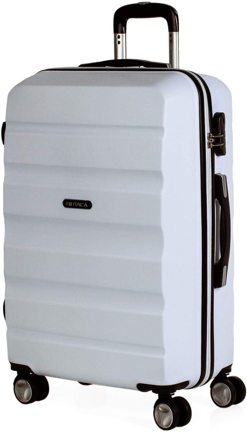 ITACA - Maleta de Viaje Rígida 4 Ruedas Trolley 67 cm Mediana de ABS Lisa. Dura Resistente y Ligera. Candado Bonito Diseño. Estudiante y Profesional. T71660, Color Blanco