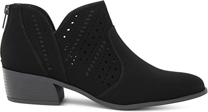 MARCOREPUBLIC Egypt Womens Almond Toe Perforated Side Cut Chunky Block Heels Low Ankle Bootie Boots