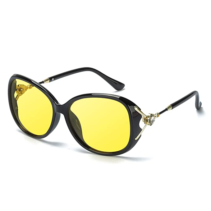 72c1332b1 Amazon.com: Protineff Oversized Night Vision Glasses, Polarized Anti-glare  Night Driving Glasses Safety Goggles Eyewear for Women (Black Frame, Yellow  ...