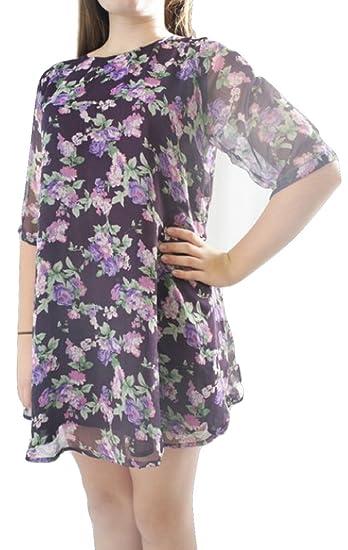 RARE at Topshop Purple Floral Print 3/4 Sleeve Party Dress (UK 14)