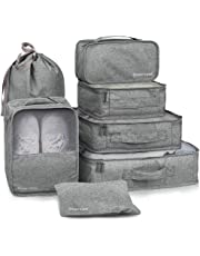 HOKEMP 7 Pcs Packing Cubes Luggage Organizer Set for Travel Lightweight Compression Storage Bags with Shoes Bag (Gray)