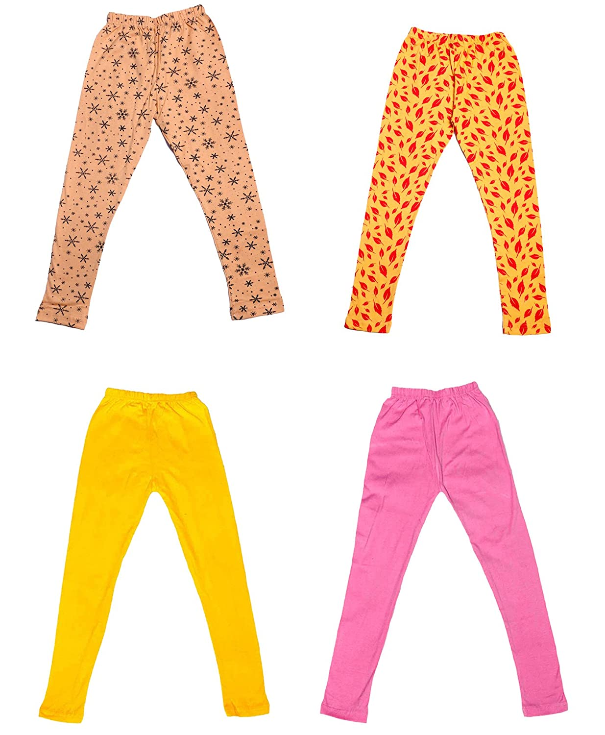 /_Multicolor/_Size-5-6 Years/_71407081819-IW-P4-28 Pack Of 4 Indistar Girls 2 Cotton Solid Legging Pants and 2 Cotton Printed Legging Pants