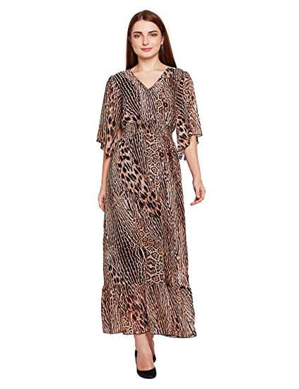 oxolloxo Women V Neck Brown Animal Print Maxi Dress (Long Sleeves)   Amazon.in  Clothing   Accessories 100ef6713