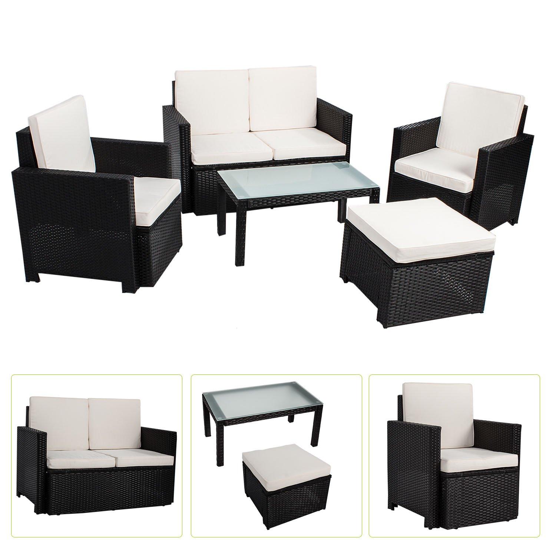 Polyrattan Sitzgruppe / Lounge Samos für 4 Personen 5 teilig in schwarz jetzt kaufen