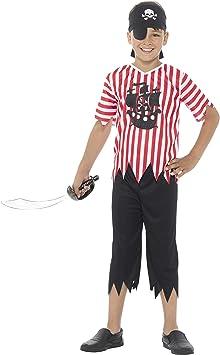 SmiffyS 21890S Disfraz De Pirata Gracioso Para Chico Con Camiseta Y Pantalones, Rojo / Blanco, S - Edad 4-6 Años: Amazon.es: Juguetes y juegos