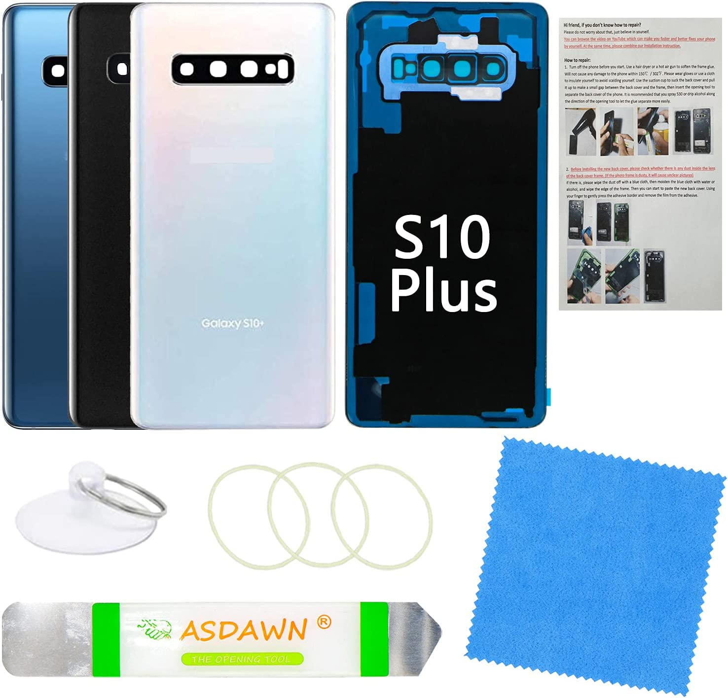 Galaxy S10+ Plus Back Glass Cover Replacement Housing Door with Pre-Installed Camera Lens +Installation Manual +All the Adhesive +Repair Tools for Samsung Galaxy S10+ SM-G975 All Carriers(Prism White)
