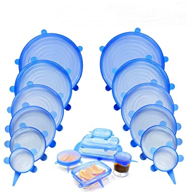 NEWBEA 12pcs Silicone Stretch Lids,12-Pack, Reusable, Durable and Expandable to Fit Various Size and Shape of Containers As Seen On TV, PCS