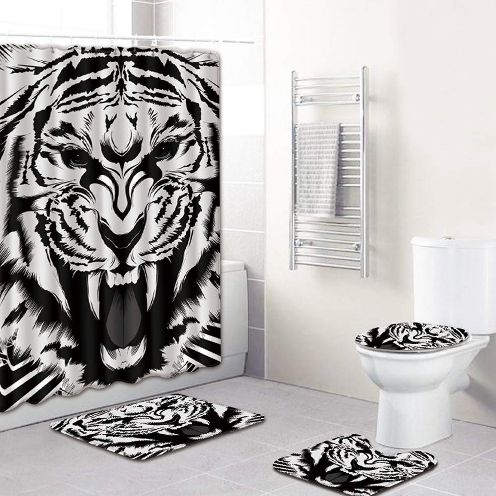 ETH Tiger Pattern Shower Curtain Floor Mats Bathroom Toilet Seat Four-Piece Carpet Water Absorption Does Not Fade Versatile Comfortable Bathroom Mat Can Be Machine Washed Durable by ETH