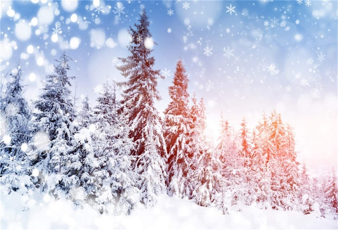 GoEoo 10x8ft Snow Covered Trees Background Merry Christmas Snowflake Forest Snowy Landscape Photography Backdrop Winter Snowfield Fir Pine Trees New Year Holiday Decor Photo Studio Props Vinyl Banner