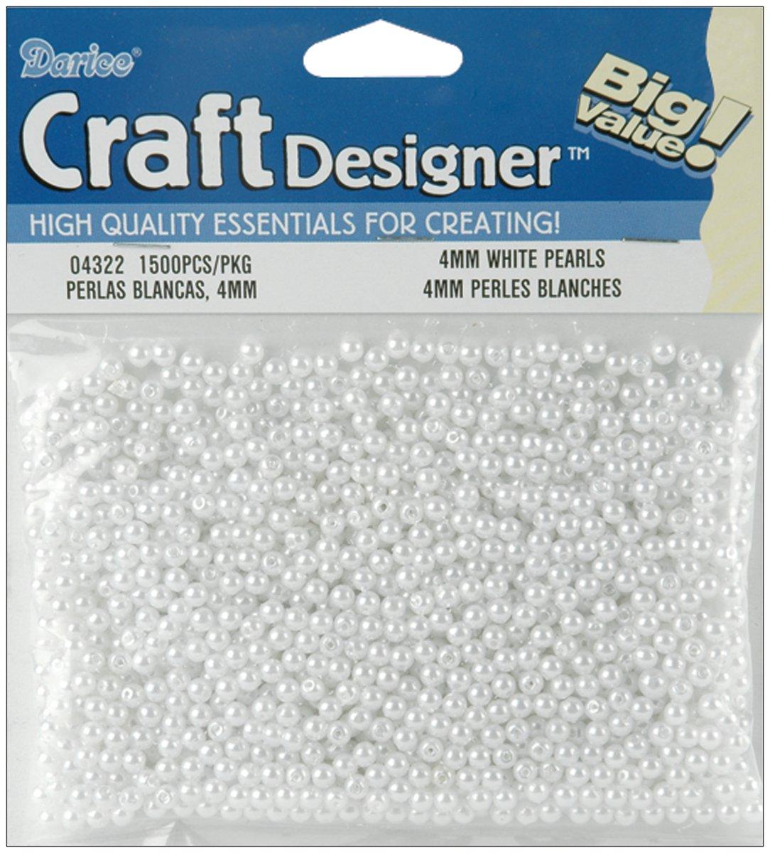 Darice 1500-Piece Round Pearl Bead, 4mm, White 04322