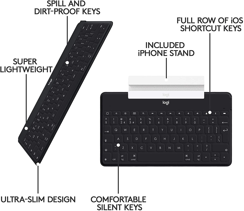 Logitech Keys-To-Go Teclado para móvil Negro Bluetooth ...