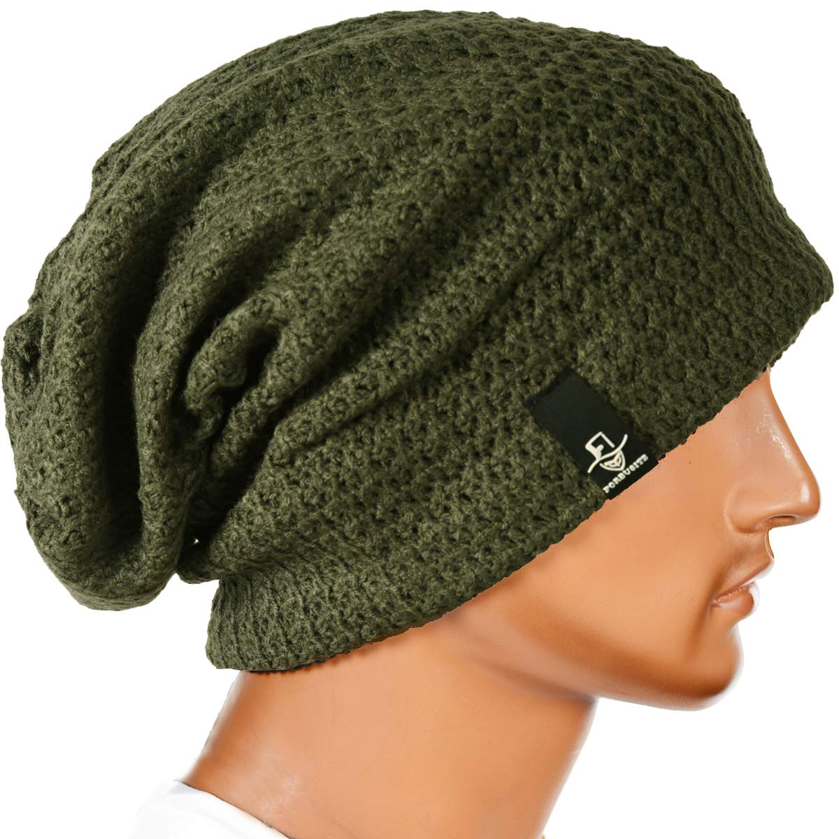 Forbusite Mens Slouchy Long Beanie Knit Cap For Summer Winter