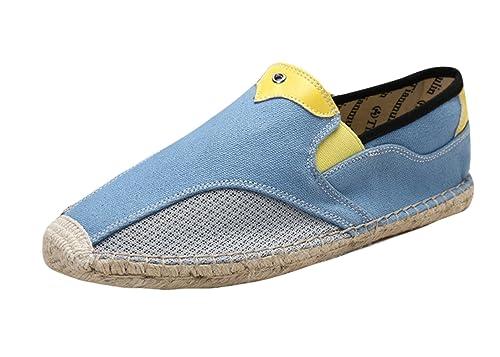 Insun Alpargatas para Hombres Lona Vamp Artesanal Suela Cuerda de Yute Plana Zapatos Moda: Amazon.es: Zapatos y complementos