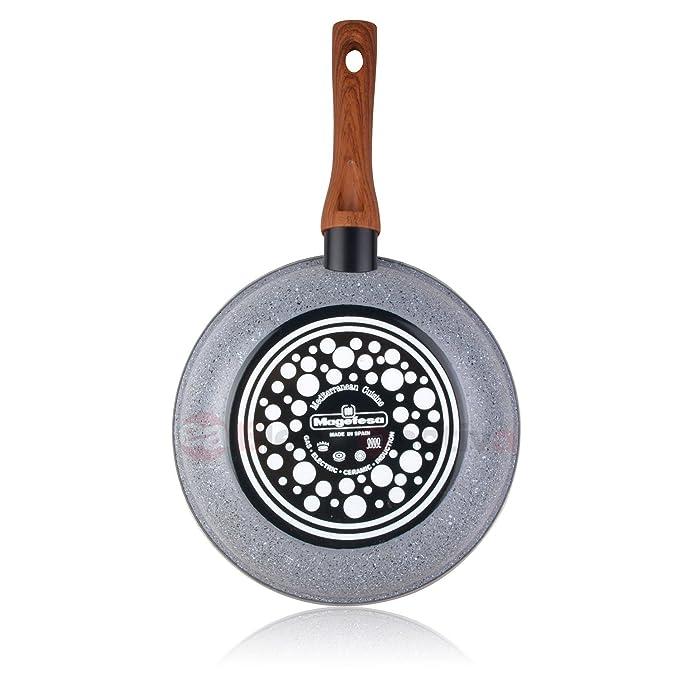 Magefesa Marmol - Set Juego 3 Sartenes 20-24-28 cm inducción antiadherente granito piedra libre de PFOA, limpieza lavavajillas apta para todas las cocinas, ...