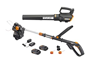"Worx WG930 20V 10"" Cordless String Trimmer & TURBINE Blower Combo Kit, 2 Batteries and 1-Hr Charger"