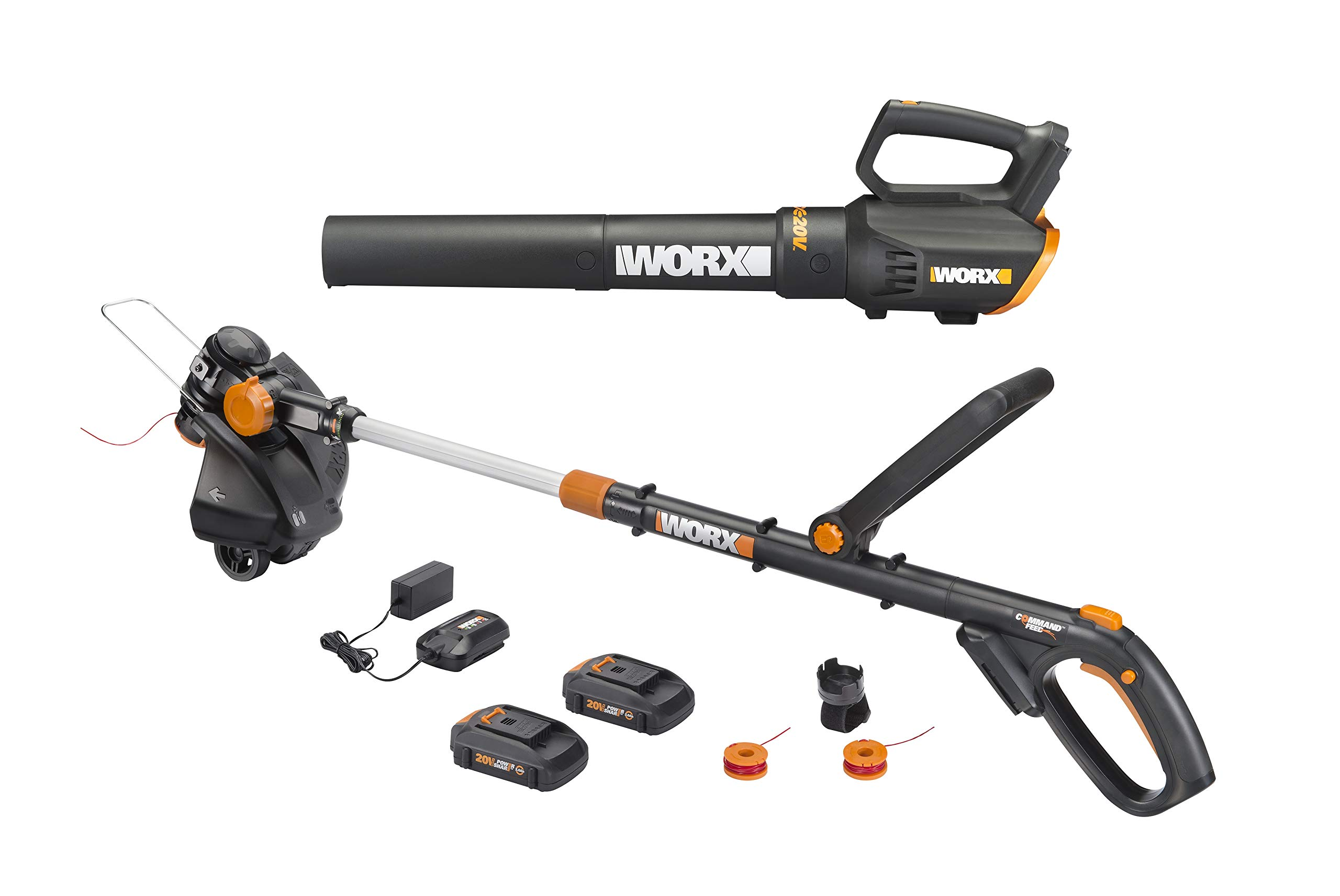 Worx WG930 20V 10'' Cordless String Trimmer & TURBINE Blower Combo Kit, 2 Batteries and 1-Hr Charger